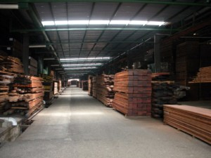 Kiln dried lumber, destined for production, is kept clean and dry